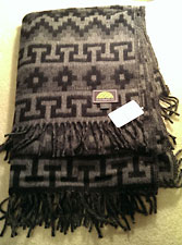Alpaca Checkered Throw/Blanket – Black/Grey