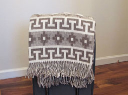 Alpaca Ethnic Throw/Blanket – Light Rose Brown and Ivory